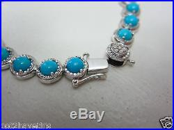 Sleeping Beauty Turquoise & Sterling Diamond Cut Tennis Bracelet Qvc 7 1/4