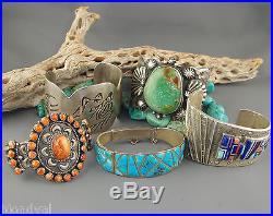 SLEEPING BEAUTY Turquoise G. L. MILLER Studio RAISED INLAY Sterling LINK Bracelet
