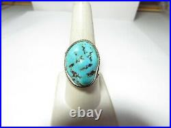 SOLID STERLING NATIVE AMERICAN RING With SLEEPING BEAUTY TURQUOISE BY B. YAZZIE