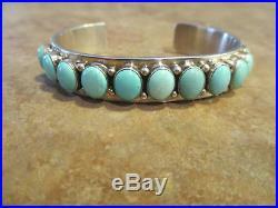 SPLENDID Vintage Navajo Sterling Silver SLEEPING BEAUTY Turquoise ROW Bracelet