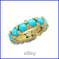 STAMBOLIAN Sleeping Beauty Turquoise Band Ring with Diamonds