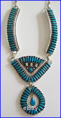 STERLING SILVER NECKLACE with GENUINE TURQUOISE SLEEPING BEAUTY, KINGMAN