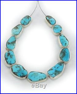 STERLING SILVER RIMMED SLEEPING BEAUTY TURQUOISE BEADS 10 Pcs