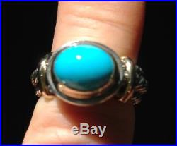 STUNNING! Reve Heavy 14K Gold Sterling Sleeping Beauty Turquoise Ring Size 6