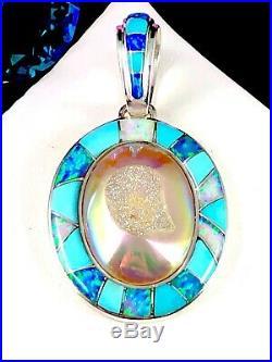 Sajen 925 Sterling Blue Opal Sleeping Beauty Turquoise Druzy Quartz Pendant