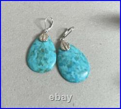 Samuel B. BJC 925 Sterling Silver Sleeping Beauty Turquoise Drop Earrings 2