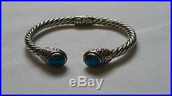 Samuel B. Sleeping Beauty Turquoise hinged 5mm sterling Silver bracelet Cuff