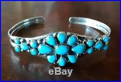 Santa Fe Style Sleeping Beauty Turquoise Cuff Bracelet in 925 Sterling Silver 7