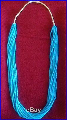 Santo Domingo 10 strand Sleeping Beauty Blue Tube Turquoise Collectable Necklace