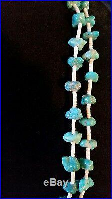 Santo Domingo Sleeping Beauty Turquoise Nugget & Heishi Bead Necklace SS Older