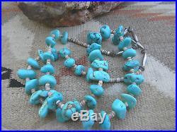Santo Domingo Sleeping Beauty Turquoise Nugget & Heishi Sterlig Bead Necklace