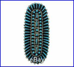 Shirley Lahi, Ring, Sleeping Beauty Turquoise, Cluster, Zuni Handmade, 9 ½