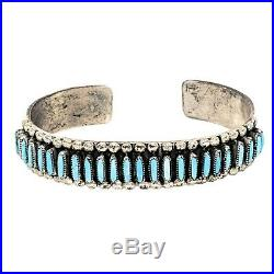 Signed JM Begay Sterling Silver Petit Point Sleeping Beauty Turquoise Cuff