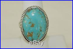 Signed Navajo Sterling Silver Sleeping Beauty Turquoise Ring