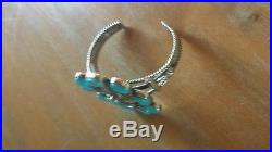 Signed Running Bear Sleeping Beauty Turquoise Sterling Silver 925 Bracelet