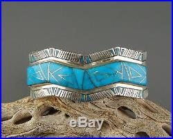 Signed V. H. Blue SLEEPING BEAUTY Turquoise UNISEX Inlaid INLAY Cuff Bracelet