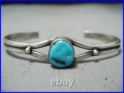 Signed Vintage Navajo Sleeping Beauty Turquoise Sterling Silver Bracelet