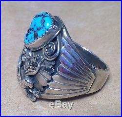 Silver Native American Tuquoise Men's Ring w EAGLE sz 11 Sleeping Beauty