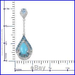 Silver Sleeping Beauty Turquoise, Blue Topaz Dangle Drop Earrings Cttw 3.5