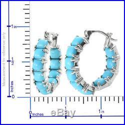 Silver Sleeping Beauty Turquoise Inside Out Hoops, Hoop Earrings Cttw 4.8