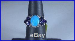 Size 7 Arizona Sleeping Beauty Turquoise, Iolite & Diamond Sterling Silver Ring