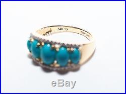 Sleeping Beauty 14k Gold Turquoise & Diamond Band Ring (18556-4-22)