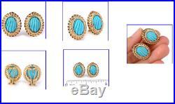 Sleeping Beauty 6.46ct Turquoise & Sapphire 14K Yellow Gold Earrings 8.3 Grams