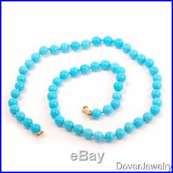 Sleeping Beauty 7mm Turquoise Beaded 14k Gold Necklace 24.8 Grams NR