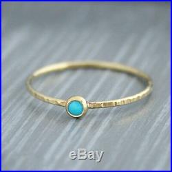 Sleeping Beauty Arizona Turquoise Hammered 14K Yellow Gold Tiny Ring Size 8