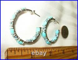 Sleeping Beauty Genuine Turquoise Inside Out Hoop Earrings All Earth-mined Gems