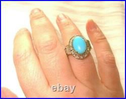 Sleeping Beauty Genuine Turquoise Ring Big Earthmined By Gem En Vogue Valitutti