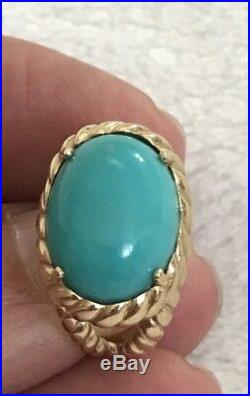 Sleeping Beauty Large Oval Turquoise Cabochon 14k Gold Ring Rope Design QVC Sz 7