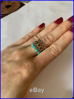 Sleeping Beauty Natural 4.5CT Turquoise Eternity Ring Band Size 5.75