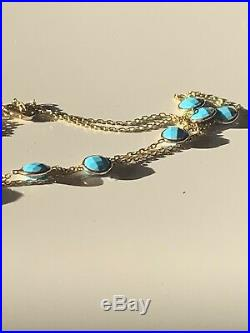 Sleeping Beauty Turquoise 14 Ct Carat Solid Gold Necklace
