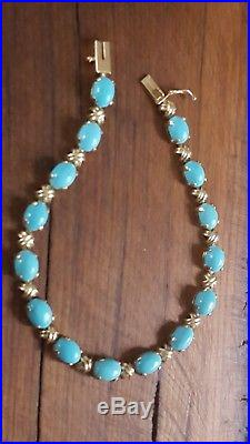 Sleeping Beauty Turquoise 14 Kt yellow Gold Tennis Bracelet 7.5 inches