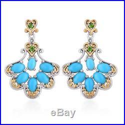 Sleeping Beauty Turquoise 14K YG Over 925 Sterling Silver Earrings TGW 3.04 ct