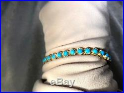 Sleeping Beauty Turquoise 14k Gold-clad Ss Tennis Bracelet, Large (m958-38)