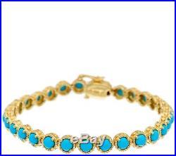 Sleeping Beauty Turquoise 14k Plated Diamond Cut 7-1/4 Tennis Bracelet Qvc $264