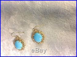 Sleeping Beauty Turquoise 14k Yellow Gold Dangle Earrings (m496-6)