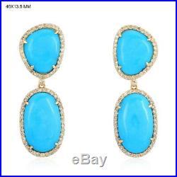Sleeping Beauty Turquoise 18K Gold Dangle Earrings Pave Diamond Women's Jewelry