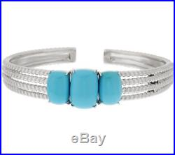 Sleeping Beauty Turquoise 18K White Gold Over Rope Design Hinged Cuff