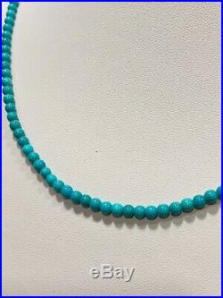 Sleeping Beauty Turquoise 4mm Round Gem Quality 14K White Gold 18 Necklace