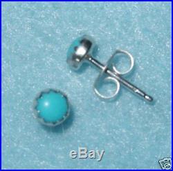 Sleeping Beauty Turquoise 4mm Stud Earrings Sterling Silver. 925