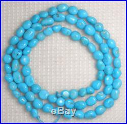 Sleeping Beauty Turquoise 5mm Pebble Gemstone Beads Blue 18 Std Jewelry #909
