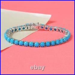 Sleeping Beauty Turquoise 5mm Round Gemstone Tennis Bracelet Sterling Silver