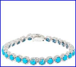 Sleeping Beauty Turquoise 6-3/4 Sterling Diamond Cut Tennis Bracelet