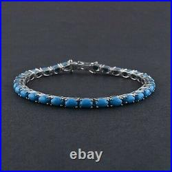 Sleeping Beauty Turquoise 6x4mm Oval Gemstone Tennis Bracelet Sterling Silver