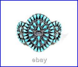 Sleeping Beauty Turquoise 925 Sterling Silver Cluster Cuff Bracelet