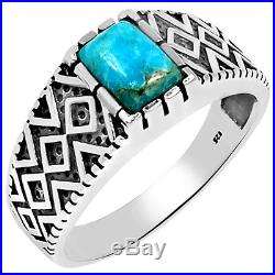 Sleeping Beauty Turquoise 925 Sterling Silver Men's Ring S. 10 MR1015BMT-10