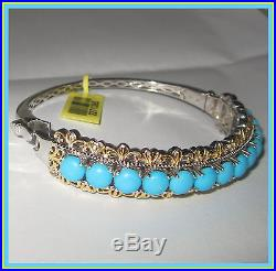 Sleeping Beauty Turquoise Bangle Bracelet 10cts! 14K YG Platinum S Silver 925
